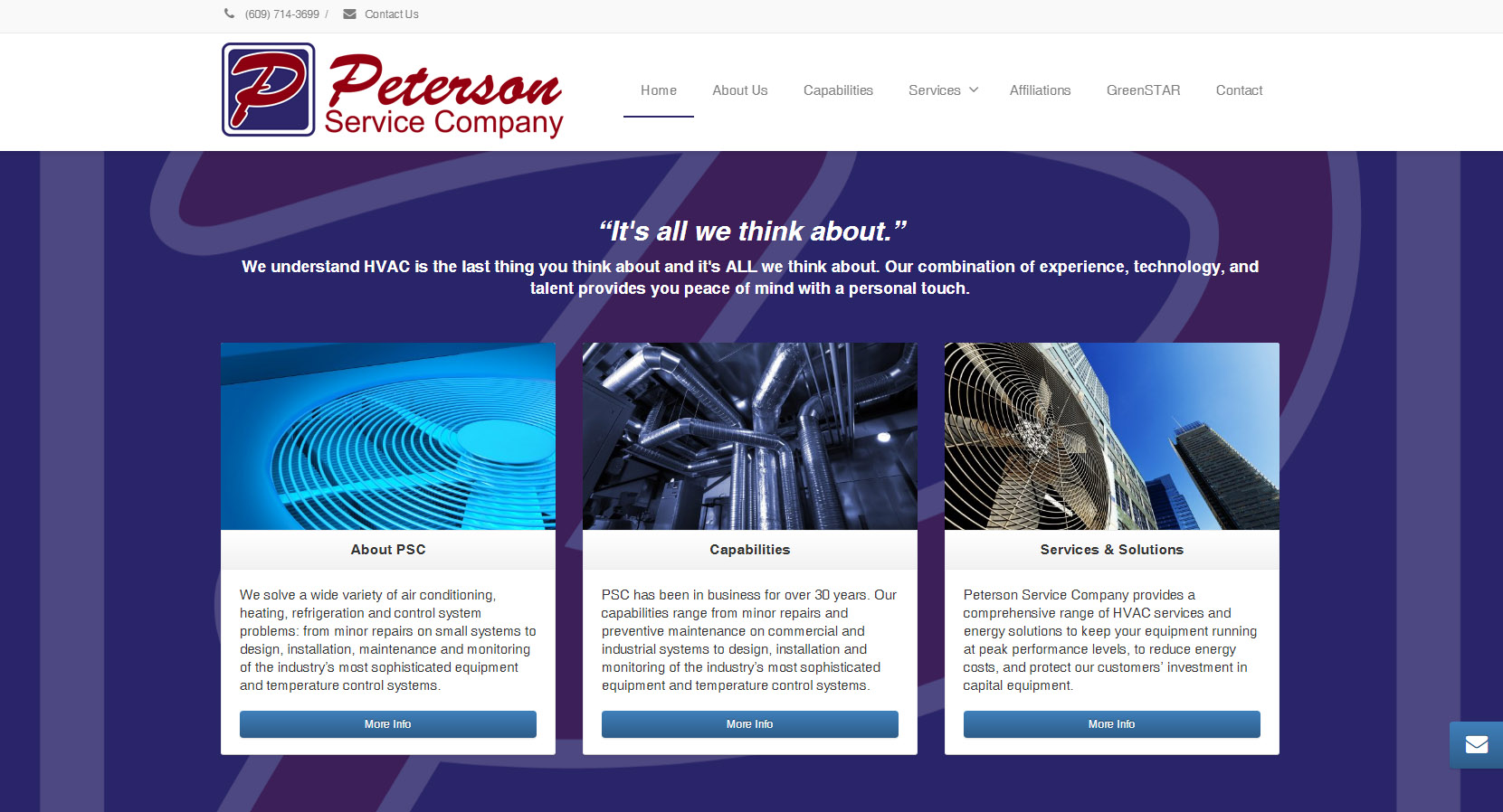 creative visual productions created the website for peterson service company