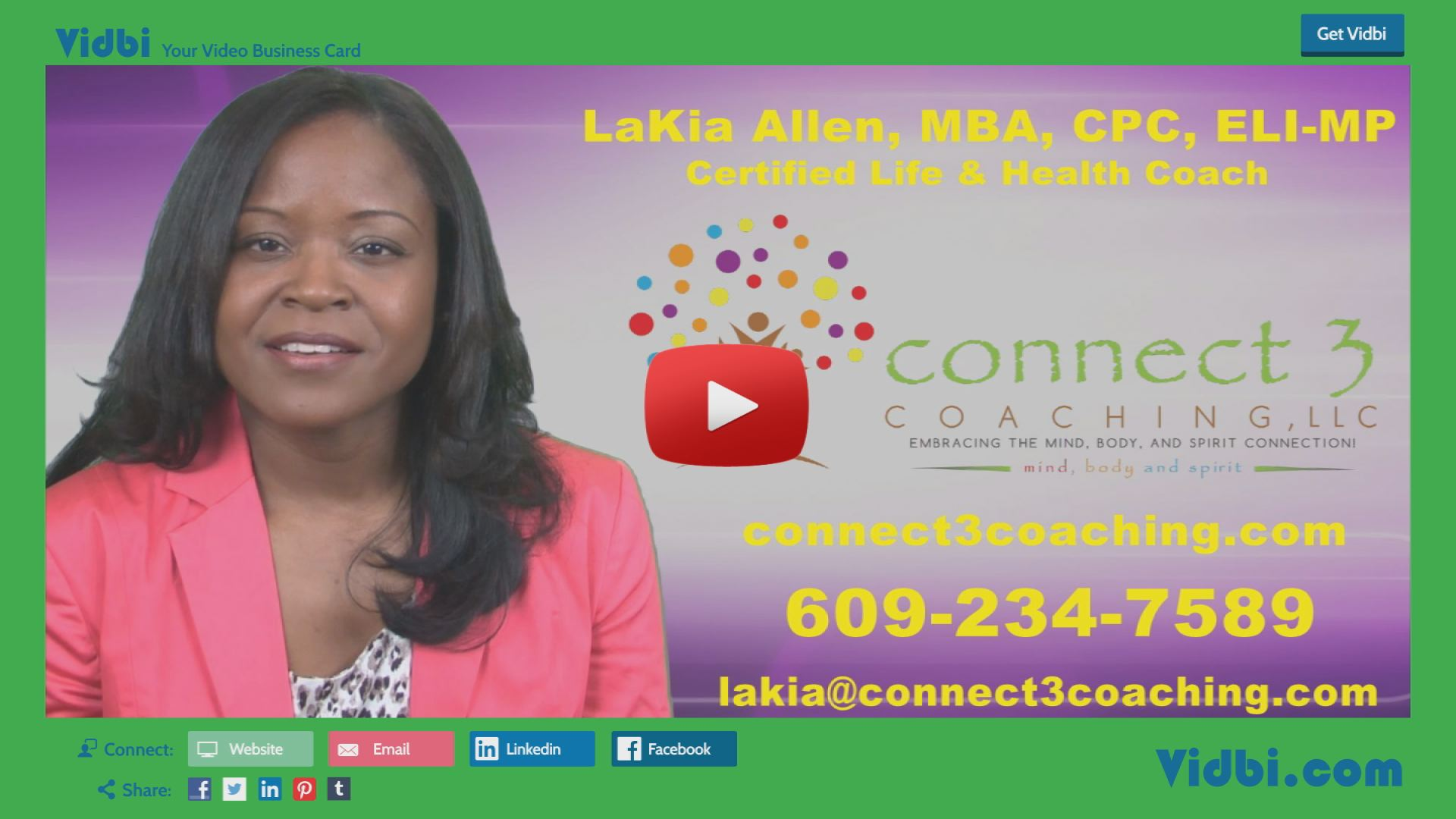 LaKia Allen - Connect 3 Coaching LLC Vidbi