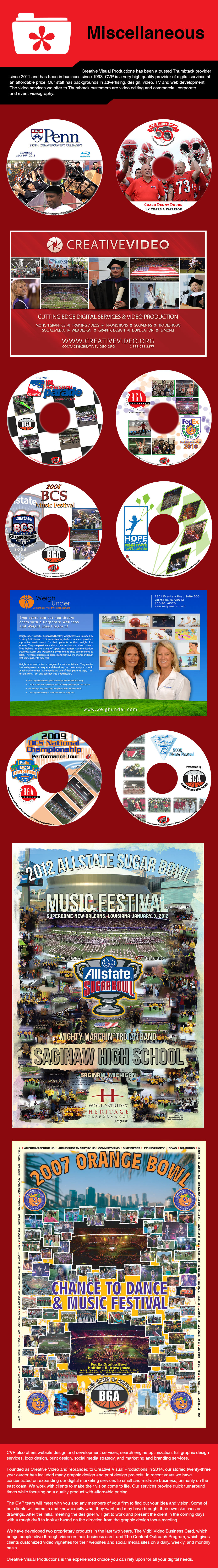 Misc services including poster creation, cd/dvd design and print materials